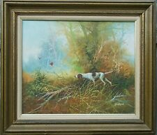 VINTAGE HUNTING BIRD DOG PAINTING SIGNED BENSON ACRYLIC CANVAS IMPRESSIONIST