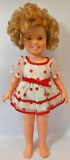 "VINTAGE 1973 IDEAL SHIRLEY TEMPLE 16"" DOLL in WHITE with RED POLKA DOTS DRESS"
