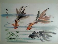 "Original early Mitzi Lai ""Koi Fish"" marina watercolor painting 17"" by 12"""