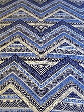 B066 - Viscose Rayon Blue Aztec Zig Zag Jersey Stretch Dress Fabric Material