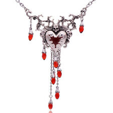 BLEEDING HEART SKULL NECKLACE PENDANT GOTHIC STEAM PUNK ALCHEMY ROCK CHICK GIFT