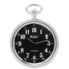 Woodford Chrome Arabic Black Open Face Mechanical Pocket Watch and Chain 1040