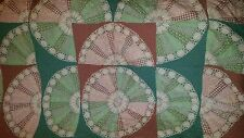 GORGEOUS ANTIQUE HAND MADE HAND STITCHED QUILT WITH HAND CROCHETED DOLLIES