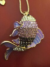 Ex-Large Betsey Johnson Bass Fish Pendant-Purples
