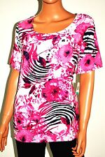 JM Collection Women Short Sleev White Pink Floral Print Scoop Blouse Top Plus 0X