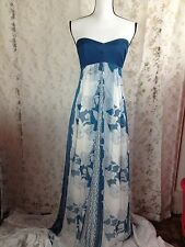 CR Charlotte Russee small strapless blue dress floral geometric boho gypsy