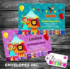 Personalised Birthday Invitations Circus Party x 5