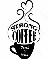 Hot Coffee Cup Cut Vinyl Decal Sticker Cafe, Catering Van,Coffee Shop ,Fast Food