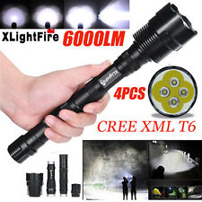 6000LM 4x CREE XML T6 LED Extended Tactical Flashlight Waterproof LED Torch Lamp