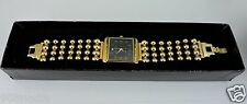 Women's JOAN RIVERS GOLD PLATED BEADED 4 ROW BAND WRIST WATCH BLACK