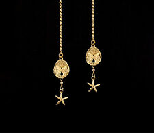 *CKstella*  14K Gold gf  Sand Dollar Sea Star Starfish Thread Threader Earrings