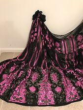 "BLACK STRETCH MESH W/PINK SEQUIN EMBROIDERY LACE FABRIC 52"" WIDE 1 YARD"