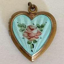 Guilloche Enamel Picture Locket Turquoise Puffy Heart Charm Pendant Vintage