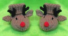 KNITTING PATTERN - Christmas Reindeer Booties / shoes  fit 0 - 6 month old Baby