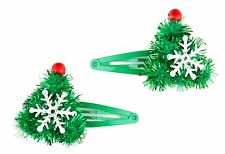 Zest 2 Tinsel Style 3D Christmas Tree + Snowflake on Green Hair Clips Slides