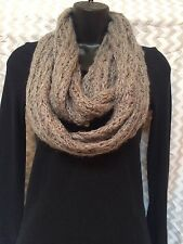 Curations Tan Infinity Crochet Knit Scarf Added Sparkle Classy Cute One Size