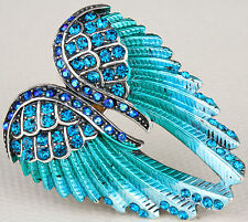 Angel Wings Pin Brooch Pendant Crystal Rhinestone Bling Jewelry Gift Blue ZD01