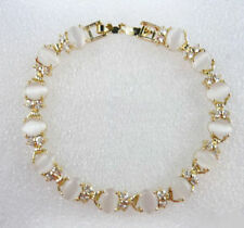Fashion White Opal Beads Crystal Yellow Gold Plated Link Clasp Bangle Bracelet