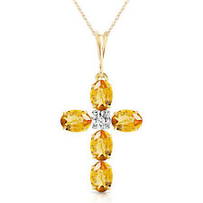14K Yellow Gold Cross Necklace Natural Diamond Oval Cut Citrine Yellow Gemstone