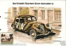 4X2 Citroën Traction Avant Militaires 15-Six G France WWII  FICHE CHARS TANKS