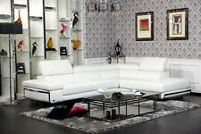 K8316 Modern White Bonded Leather Sectional Sofa Contemporary Style