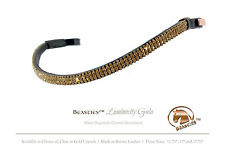 Gold/Blk Luminocity Wave Crystal Dressage Bridle Browband Size: Oversi/ 17.75""