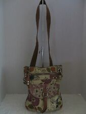 FOSSIL FLORAL CANVAS & LEATHER SHOULDER CROSSBODY PURSE