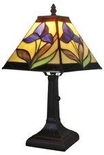 Tiffany Style Vintage Floral Iris Stained Glass Lamp Light Small Table Furniture