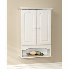 Bathroom Wall Mounted Cabinet Organizer 2 Spacious Storage Shelves Towels White