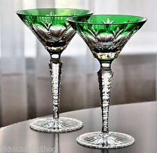 2 Faberge Grand Palais Emerald Green Cased Crystal Martini Cocktail New Signed