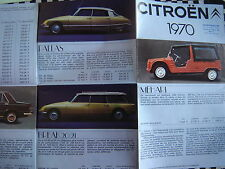 brochure CITROEN 1970 MEHARI + DS PALLAS + BREAK 20/21 + 2CV + AMI / FRANCAIS