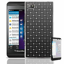 Black Diamante Diamond Jewel Case Cover for Blackberry Z10 + Screen Protector