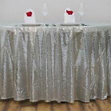 """120"""" Silver SEQUIN ROUND TABLECLOTH Wedding Party Catering Reception Linens SALE"""