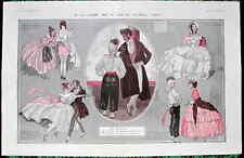 Leonnec 1923 Original Vintage La Vie Parisienne impresión Regencia baile Parejas