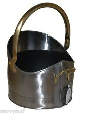 Traditional Coal Bucket Steel Coal Hod Log Holder Brass Fireside Accessories