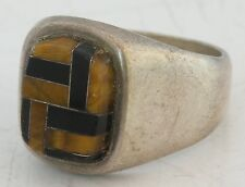 Modern sterling Mexican silver Mexico Taxco Tiger Eye & Onyx inlay ring, by Tono