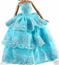 Handwork soft Princess Party Dress/Evening Clothes/Gown For Barbie Doll  1103