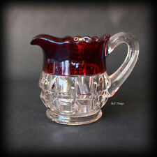 EAPG Ruby Stain Truncated Cube #77 Individual Creamer Thompson Glass CO