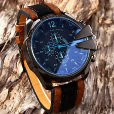 Men's Watch Sport Analog Steel Quartz Big Case Leather Band Dress Wrist Watches