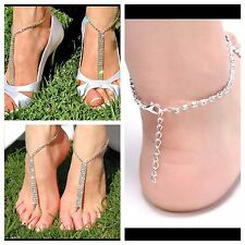 USA -1 PAIR Barefoot Beach Sandals Wedding Rhinestone Anklet Foot Chain Jewelry