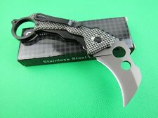 karambit Claw Silver Stainless Steel & Aluminum liner lock Folding Hunting Knife
