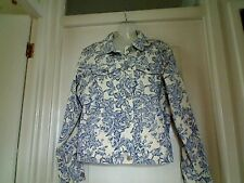 EDDIE BAUER WHITE WITH BLUE FLOWERS COTTON JACKET SIZE MEDIUM 14