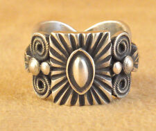Handmade Sterling Silver Navajo Ring Hand Stamped Repousse Darrell Cadman