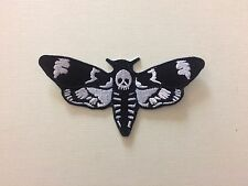 Deaths Head Hawk Moth Embroidered Black And White Iron On Patch