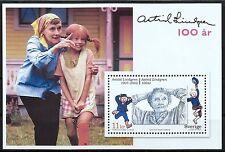 100. Geb. von Astrid Lindgren - Block 26 - Gemeinschaftsausgabe m. Deutschland