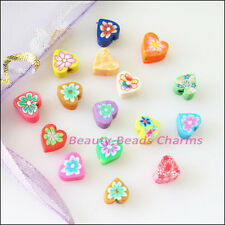 70Pcs Mixed Handmade Polymer Fimo Clay Heart Flat Spacer Beads Charms 6mm