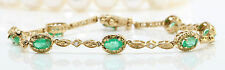 1.48CTW Natural Colombian Emerald & Diamonds in 14K Solid Yellow Gold Bracelet
