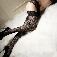 Sexy Black Sheer Lace Top High Stockings Thigh Highs Hosiery Women Pantyhose