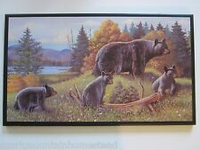 Bear and Cubs rustic country wall decor plaque, handcrafted picture, bears sign