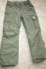 Burton DryRide Olive Green Snow Ski Winter Nylon Lined Pants Sz L (14-16)